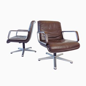 Leather 2000 Swivel Chairs by Delta Design for Wilkhahn, 1960s, Set of 2