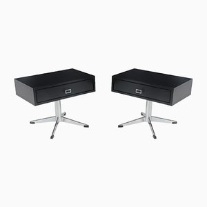 Mid-Century Black and Chrome Bedside Tables, 1960s, Set of 2