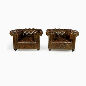 Braune Chesterfield Ledersessel, 2er Set