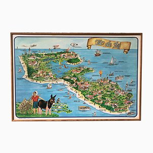 Large Vintage Framed Illustration of Ile De Ré France by Gerard Prevauto, 1980s