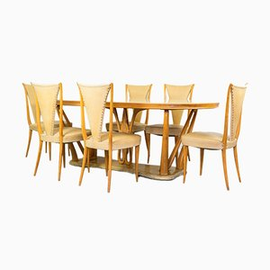 Dining Table & Chairs Set in the Style of Vittorio Dassi, 1940s, Set of 7