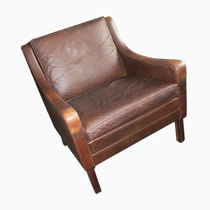 Mid-Century Danish Dark Brown Leather and Solid Rosewood Lounge Chair, 1960s