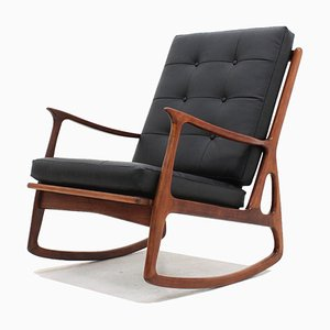 Mid-Century Italian Teak Rocking Chair, 1950s