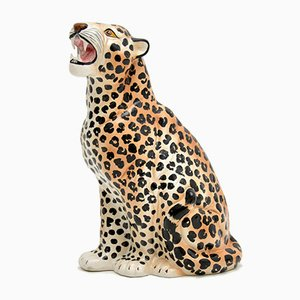 Scultura grande vintage a forma di leopardo in porcellana, anni '70