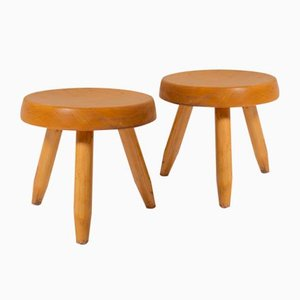 Mid-Century Wood Stools by Charlotte Perriand, 1950s, Set of 2