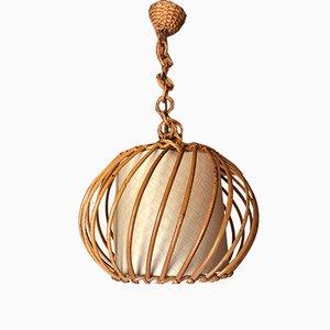 Large Vintage Rattan & Bamboo Pendant Lamp