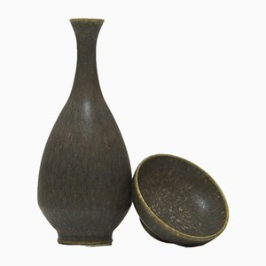 Mid-Century Miniature Vase and Bowl by Gunnar Borg for Höganäs, 1950s, Set of 2