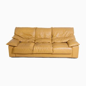Vintage Italian Camel Colored Leather 3-Seat Sofa, 1970s