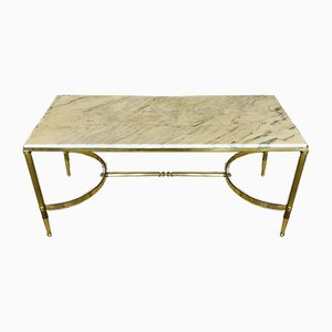 Mid-Century Brass Coffee Table with White Marble Top