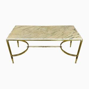 Tavolino da caffè Mid-Century in ottone con ripiano in marmo bianco