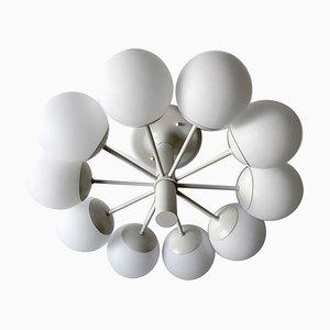 Weiße Mid-Century Glaskugel Sputnik Hängelampe von Kaiser Idell / Kaiser Leuchten