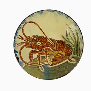 Mid-Century Ceramic Wall Plate with Lobster Decor from Puigdemont