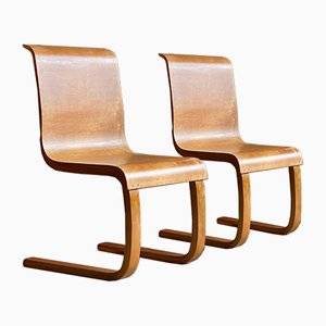 Finnish Model 21 Cantilever Side Chairs by Alvar Aalto for Finmar, 1930s, Set of 2