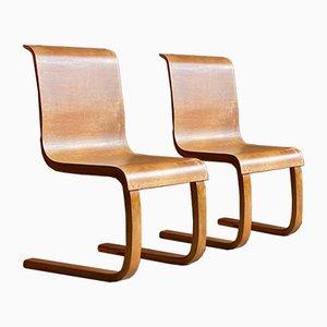Sillas auxiliares Cantilever finlandesas modelo 21 de Alvar Aalto para Finmar, años 30. Juego de 2