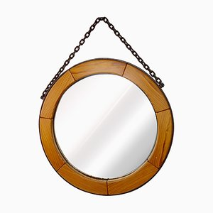 Mid-Century Modern Round Wall Mirror with Segmented Wooden Frame & Steel Chain