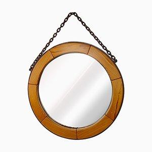 Specchio da parete Mid-Century moderno rotondo con struttura in legno e catena in acciaio
