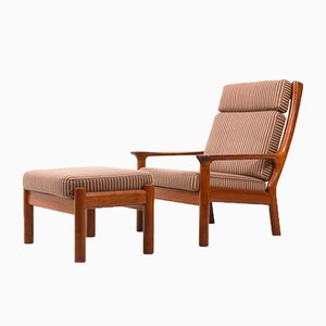 Mid-Century Teak High-Back Lounge Chair & Ottoman by Jens Juul-Kristensen for Glostrup, Set of 2