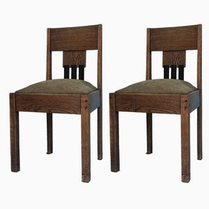 Art Deco Amsterdam School Dining Chairs, 1920s, Set of 2