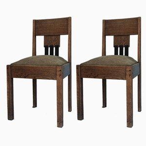 Art Deco Amsterdam School Dining Chairs, 1920s, Set of 2