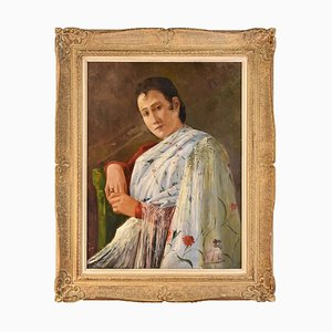 Peinture Portrait, Femme avec Robe Blanche, Espagne, Huile sur Toile, 20ème Siècle