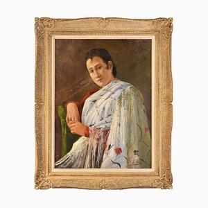 Portrait Gemälde, Frau mit weißem Kleid, Spanien, Öl auf Leinwand, 20. Jahrhundert