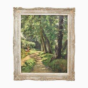 Pintura al óleo de paisaje sobre lienzo, pintura de naturaleza, lectura de niña, siglo XX