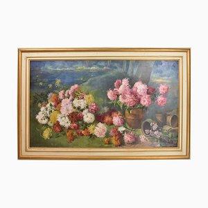 Florale Bemalung, Pfingstrosen & Seerosen, Blumenkunst, Öl auf Leinwand, 19. Jahrhundert