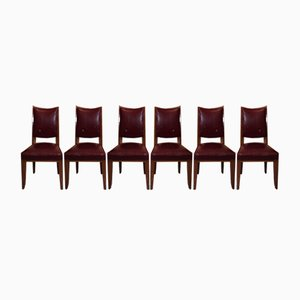 Art Deco Walnut Dining Chairs, 1940s, Set of 6