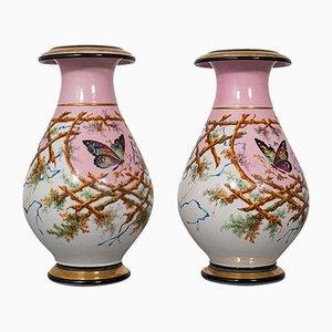 Antike Französische Viktorianische Pfingstrosen Vasen aus Keramik, 1890er, 2er Set