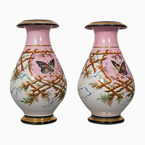 Antique French Victorian Ceramic Peony Vases, 1890s, Set of 2