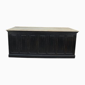 Antique Black Trade Counter with 4 Large Drawers, 1900s