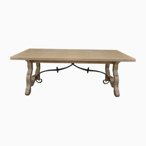 Oak and Wrought Iron Dining Table, 1970s