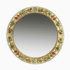 Polychrome Round Carved Wood Mirror from Chelini, 1980s