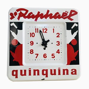Vintage French Enamel Advertising Clock by Charles Loupot for St. Raphael Quinquina, 1949