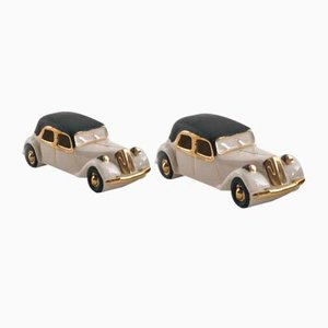 Art Deco Porcelain Model Fiat Cars, 1930s, Set of 2