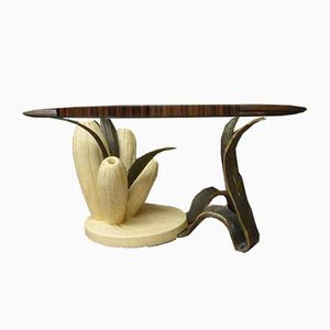 Bronze & Resin Organic Anemone Plant Coffee Table with Glass Top, 1970s