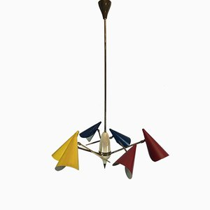 Mid-Century Italian Brass and Lacquered Metal Chandelier with 3-Arms from Stilnovo, 1950s