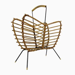 Dutch Rattan and Iron Magazine Rack, 1960s