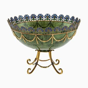 Vintage Russian Style 14k Gold, Nephrite, Diamonds, and Rubies Bowl by S.Rudle for Tanagro Jewelry Corporation, 1980s