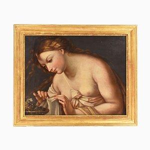 Pintura retrato de mujer, mujer con uvas, pintura al óleo francesa sobre lienzo, siglo XIX