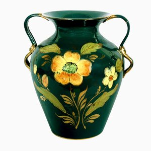 Tuscany Hand-Painted Vase with Gold from Maioliche Artistiche Sesto Fiorentino, 1920s