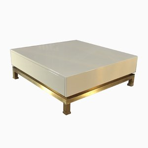 Large Brass & White Lacquered Wood 2-Drawer Coffee Table by Guy Lefevre for Maison Jansen, 1970s
