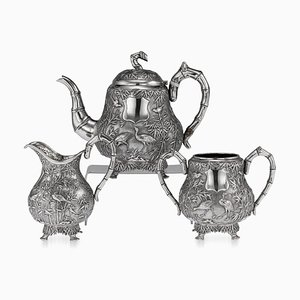 Antique Chinese Export Solid Silver Tea Set from Woshing, Set of 3