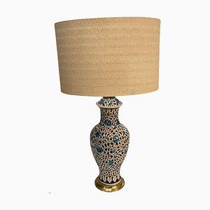 Italienische Capri Tischlampe aus Keramik in Weiß & Blau, 1960er