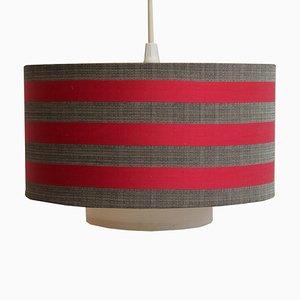Lampe à Suspension en Tissu Rouge et Gris, 1960s