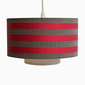 Red & Gray Fabric Hanging Lamp, 1960s