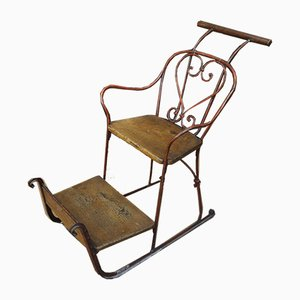 Antique Metal and Wood Sled Chair, 1900s
