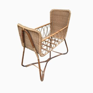 Wicker Cot Attributed to Louis Sognot, 1950s