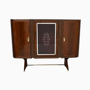 Mid-Century Modern Italian Brass & Mahogany Bar Cabinet by Gio Ponti, 1950s