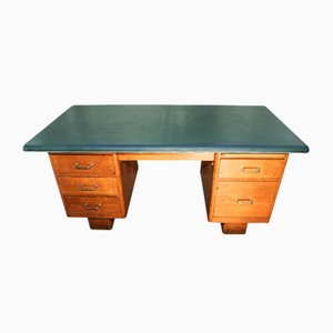Mid Century Industrial Oak Pedestal Desk with Blue Vinyl Top and Aluminium Beading, 1950s